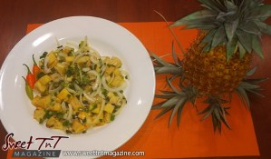 Pineapple chow after growing a pineapple for two years in Trinidad and Tobago for Sweet TnT Magazine.