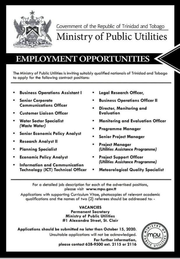 Ministry of Public Utilities Vacancies September, 2020