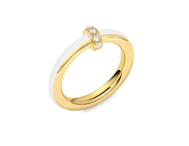 18K Yellow Gold, Diamond & White Enamel Ring