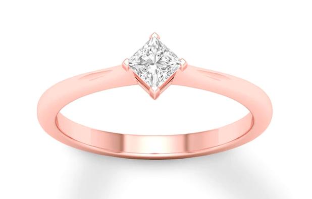 Diamond Solitaire Ring 1/3 Carat Princess-cut 14K Rose Gold