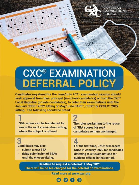 CXC CSEC and CAPE Exam Deferrals 2021