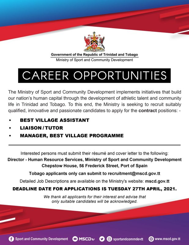Government Career Opportunities April 2021