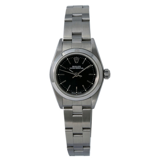 Rolex Oyster Perpetual Automatic Chronometer Black Dial Ladies Watch 76080 BKSO