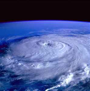Hurricane season. Eye of the storm image from outer space