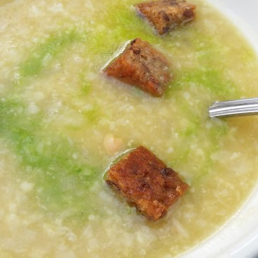 Cauliflower Soup with Deep Fried Croutons and Parsley Oil