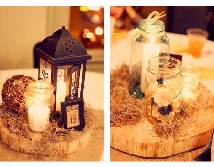 woodland centerpieces, lantern wedding centerpieces