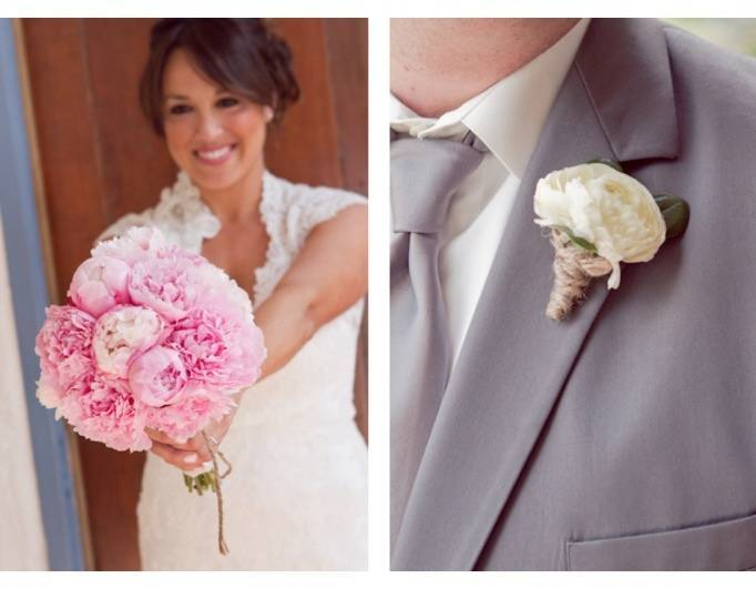 peony bouquet by Moments in Bloom, grey groom suit