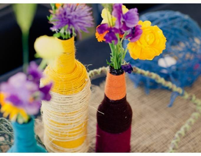 Yellow and Purple Wedding Centerpieces