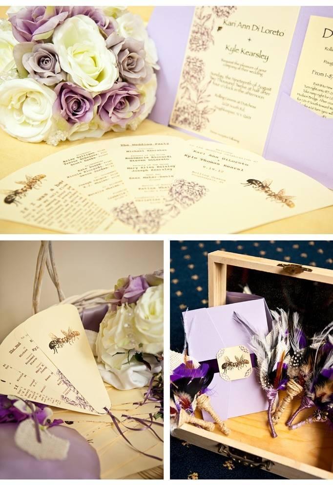 Purple bee invitations