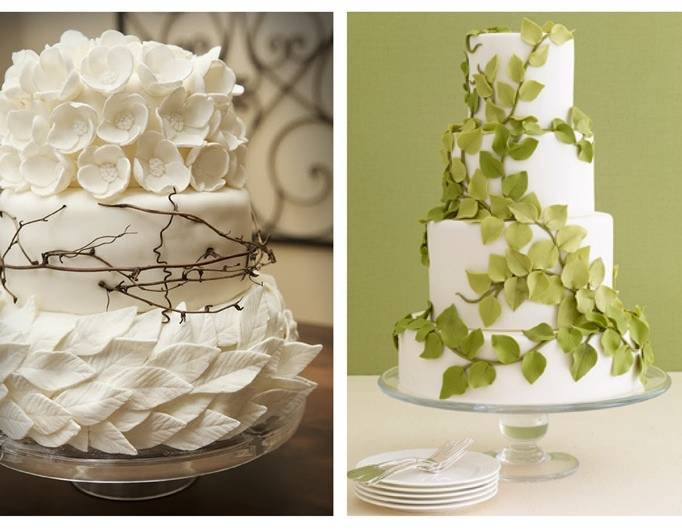 leafy wedding cake