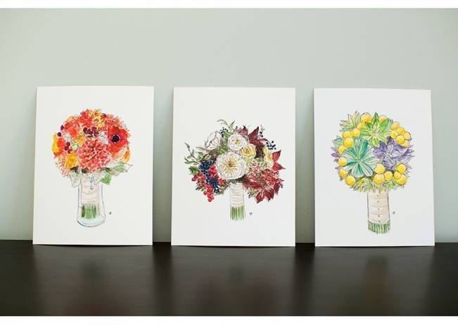 watercolor wedding bouquets