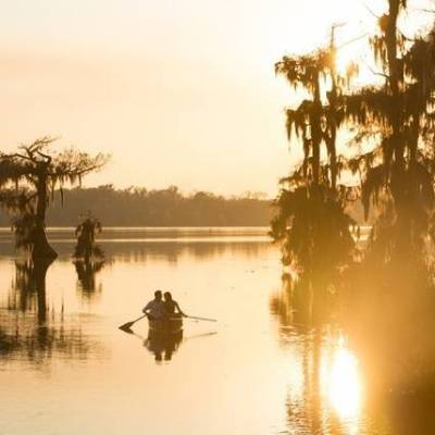 Sunset Canoe Engagement by Heirloom Collective