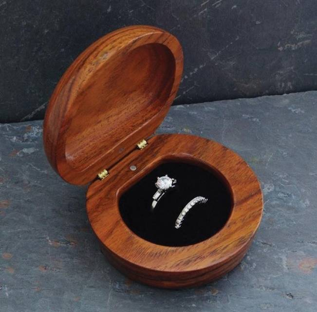 wood handmade ring box