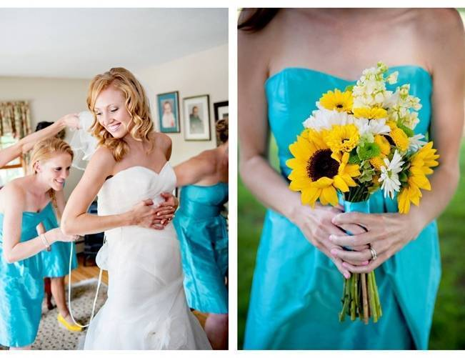 turquoise blue bridesmaid dress