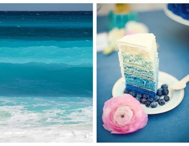 deep blue ombre cake and ocean