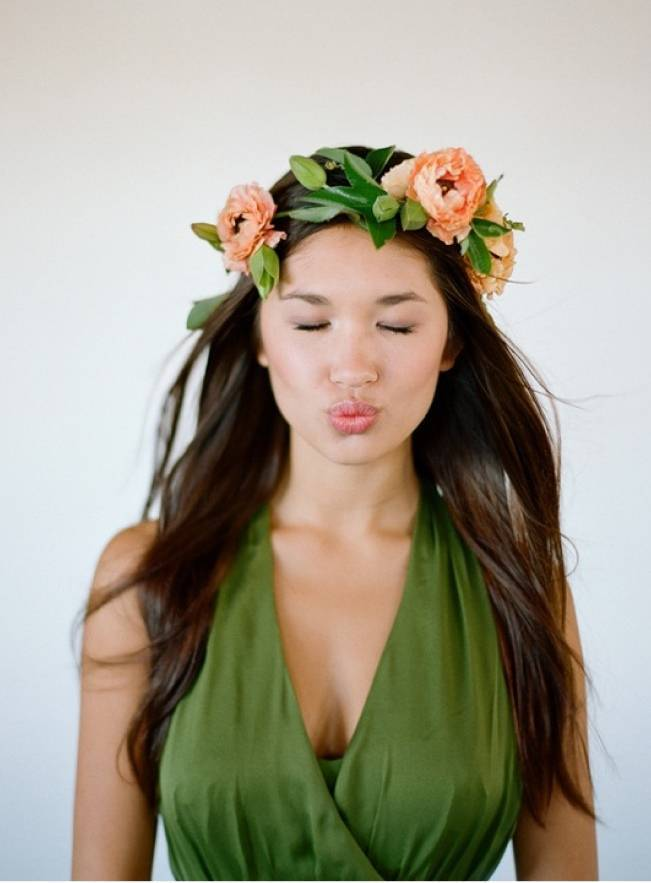 tropical peach flower crown elizabeth messina