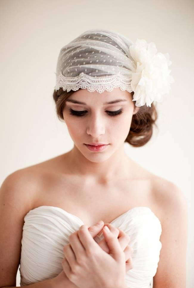 Melinda Rose Design lace bridal cap