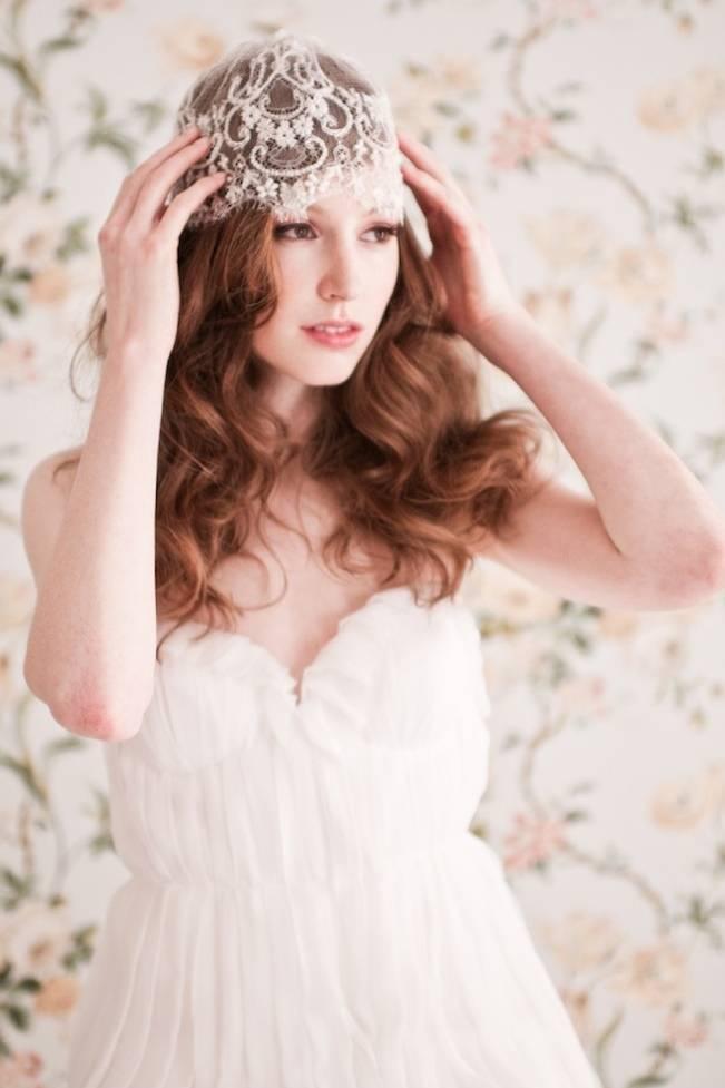 Enchanted Atelier lace bridal cap