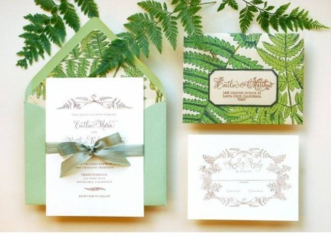 fern wedding invitations, antiquaria