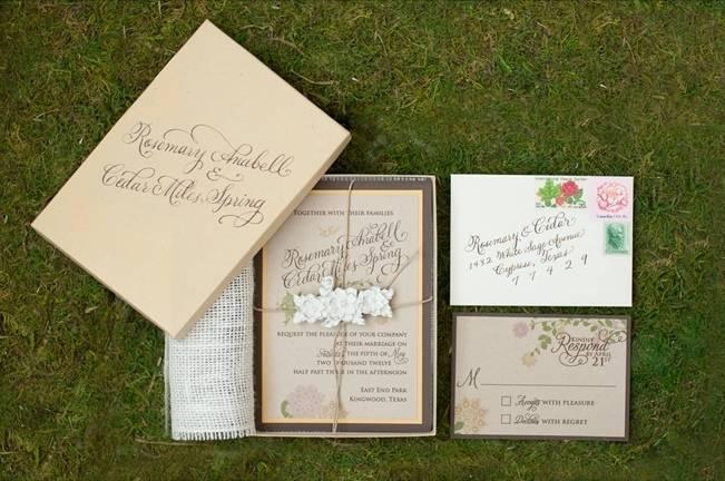 garden wedding invitation suite