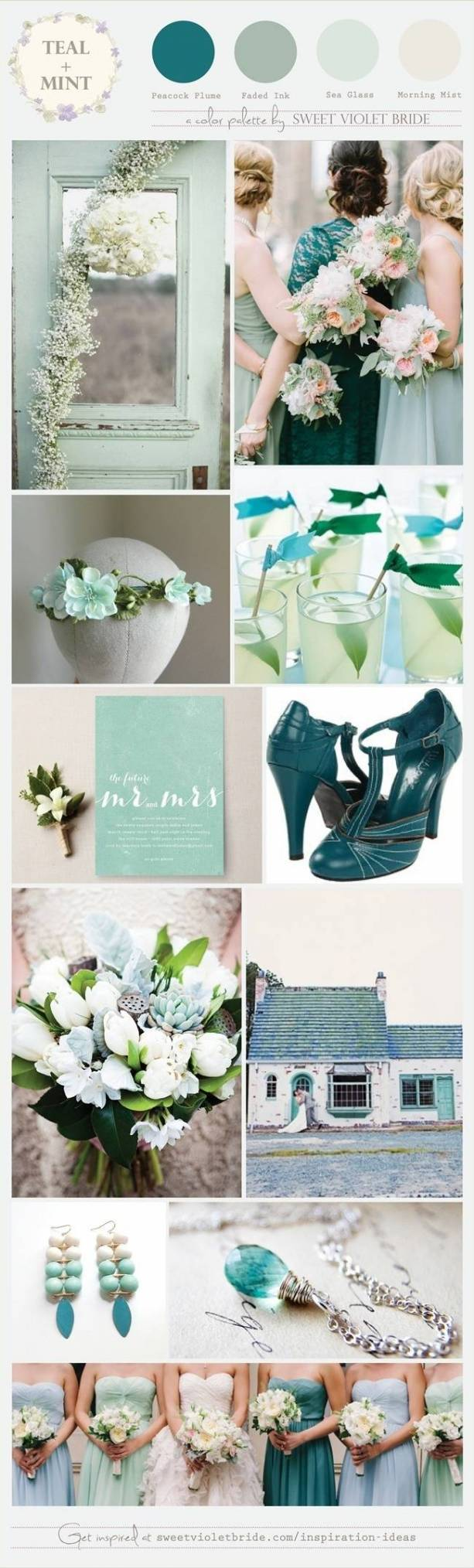 teal and mint wedding theme