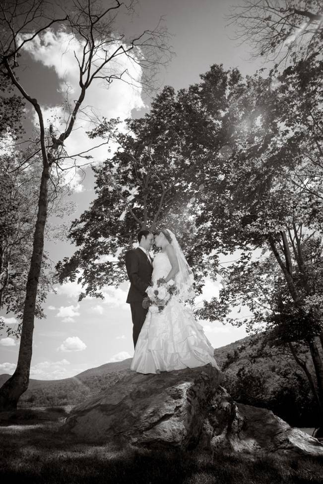 black and white outdoor wedding photography