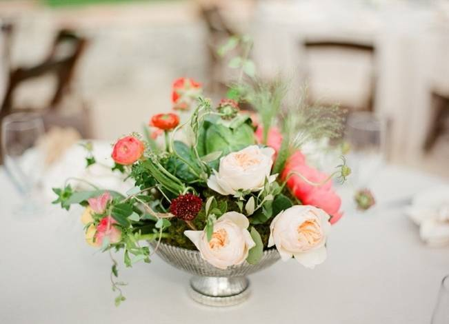 cream pink ranunculus centerpiece