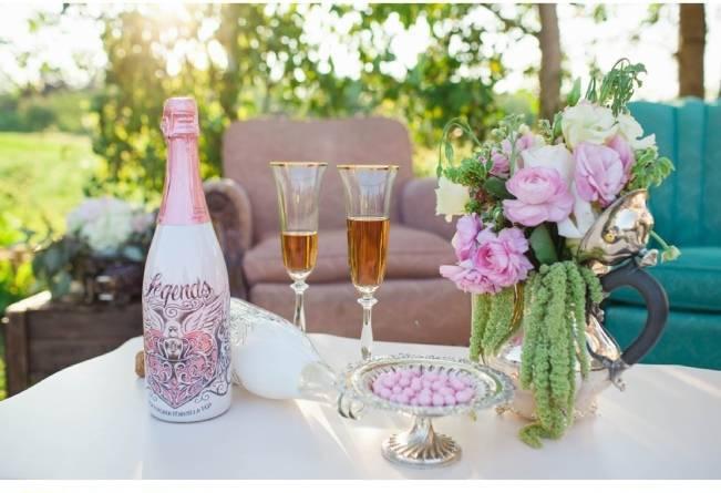 pink champagne bottle
