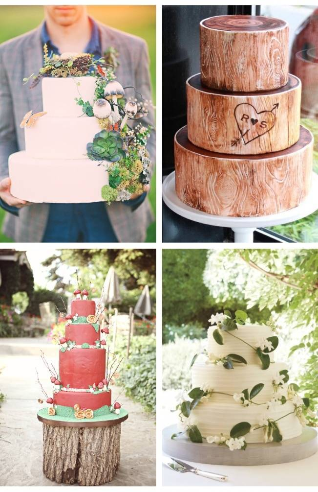 rustic woodland wedding cake ideas