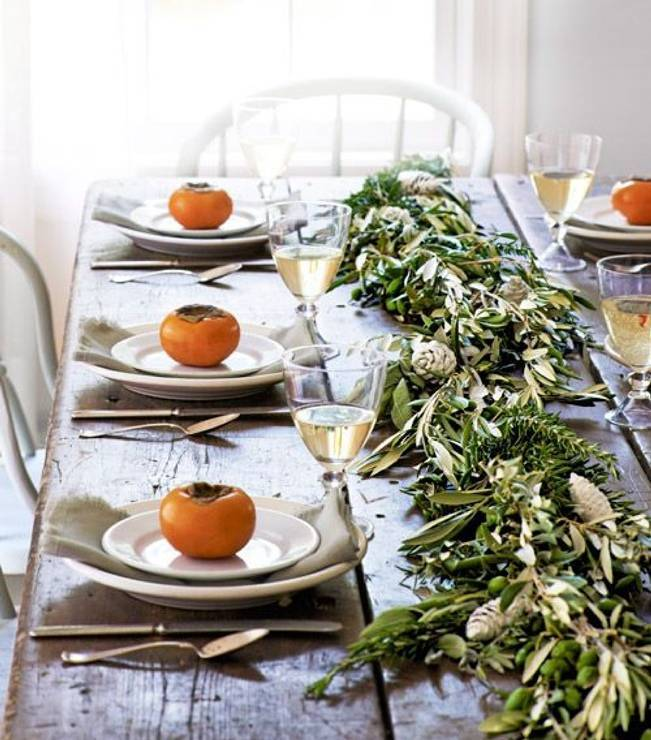 olive leaf table garland runner