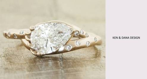 10 Gorgeous Eco Friendly Engagement Rings Ken and Dana Design pear cut diamond