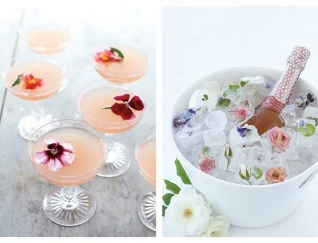 cocktails with real edible flowers