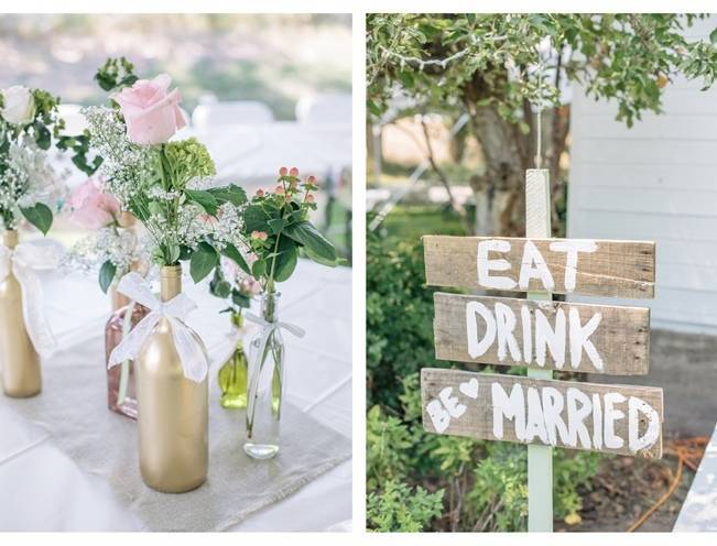 rustic diy wedding decor pink and gold