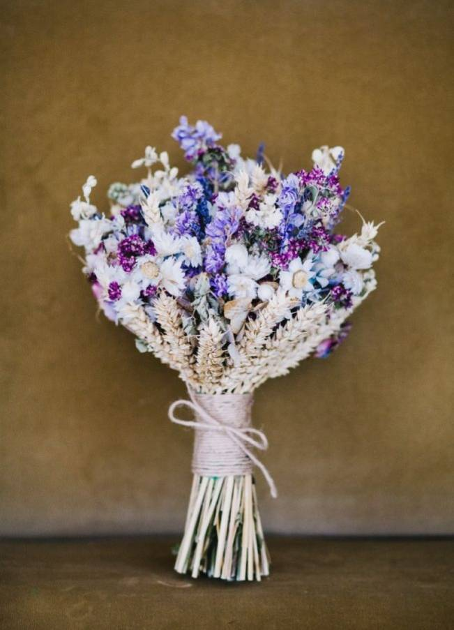 rustic wedding bouquet inspiration dried flowers