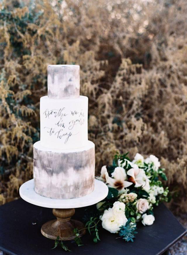 grey watercolor wedding cake with calligraphy - Jen Wojcik Photography