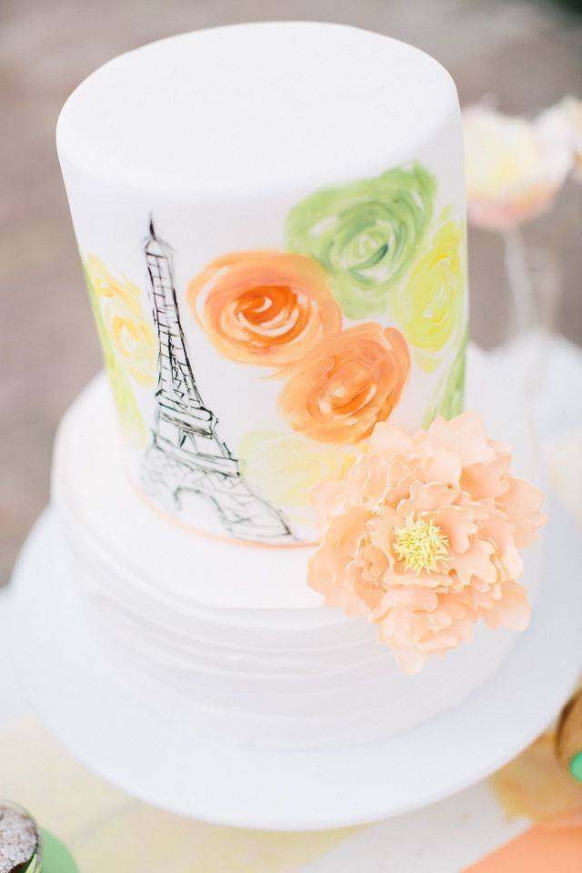 paris watercolor cake - Carmen and Ingo Photography