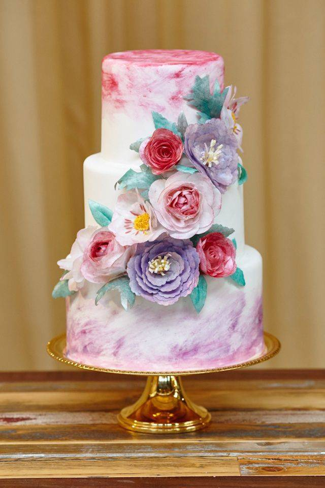 pink and purple watercolor cake - WojoImage Photography