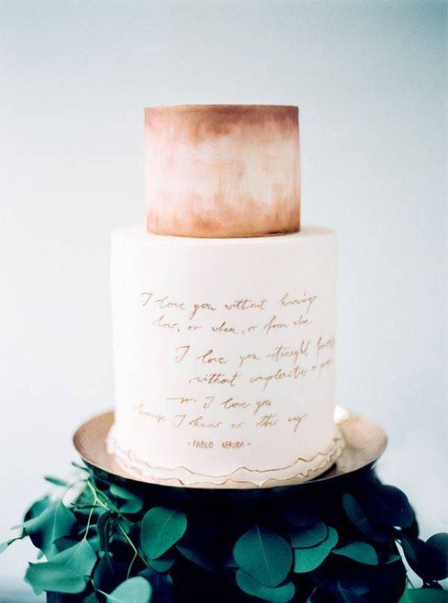 watercolor and calligraphy wedding cake - Photo by Peaches & Mint - pablo neruda quote