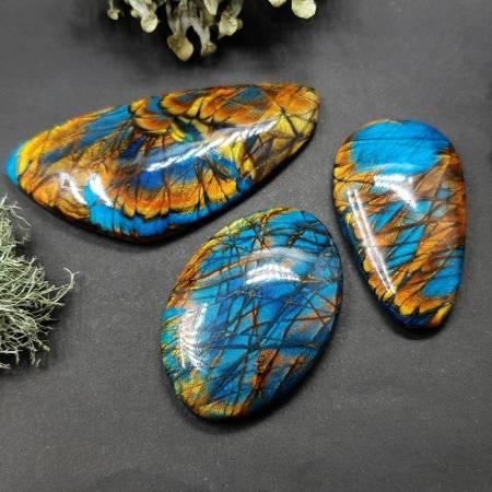 Faux Labradorite Stones, 3 cabochons