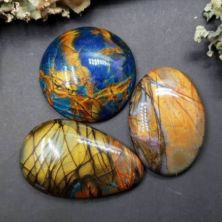 3 cabochons faux labradorite stones from polymer clay