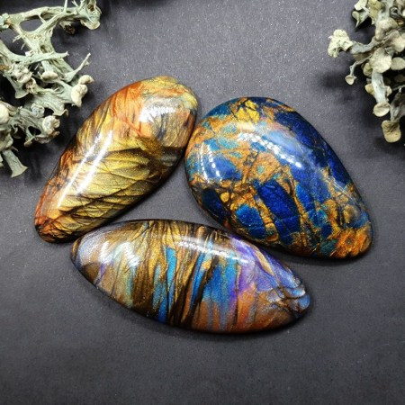 3 cabochons Faux Labradorite Stone from Polymer Clay