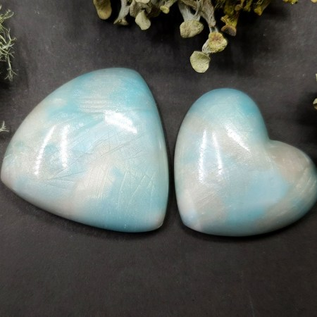 2 cabochons Faux Moonstone from Polymer Clay (Set #3)