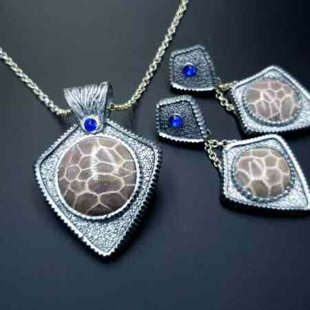 """Petoskey Stone"" Jewelry Set"