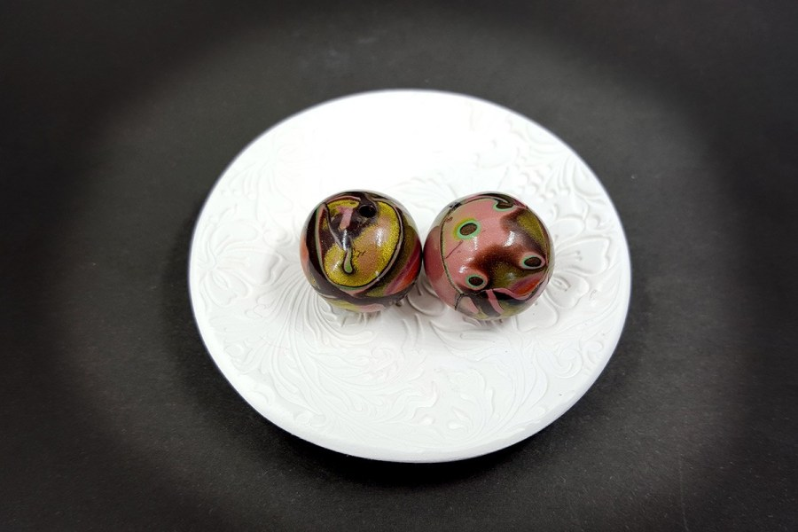 2 pcs Beads from Polymer Clay by Mokume Gane Technique p02