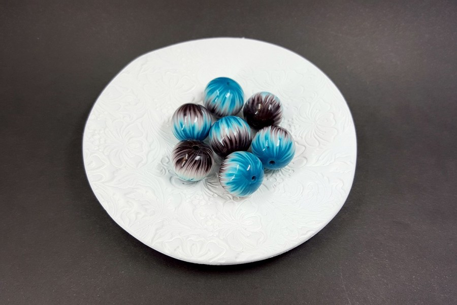 7 pcs Round Beads from Polymer Clay by Millefiori Technique set 2 p03