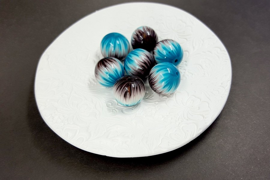 7 pcs Round Beads from Polymer Clay by Millefiori Technique set 2 p04