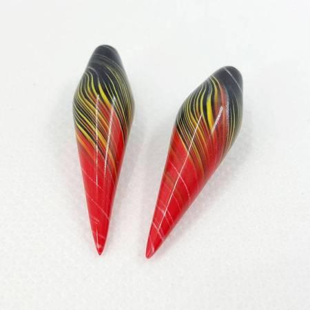 2 Beads «Vulcano» by Millefiori Technique