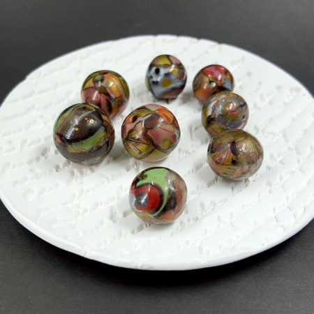 8 Beads from Polymer Clay Brown, Bronze, Red, Green