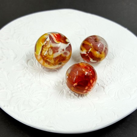 3 pcs Shining Beads from Polymer Clay – Light Red Colour
