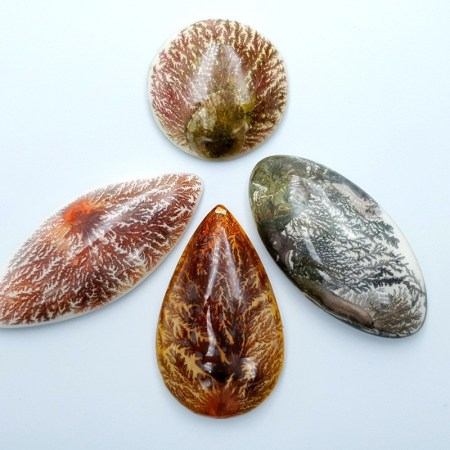 4 cabochons Faux Dendritic Agate from Polymer Clay (#6)